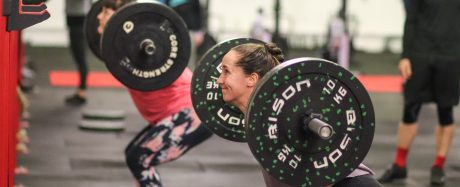 Tara Hutchinson doing a back squat