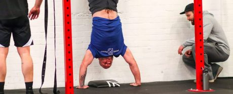 Mike & Coach TJ GAIN Fitness Norwich doing Handstand Pushups